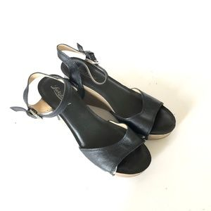 Lucky Brand Marsha Black Leather Wedges Sandal 7.5